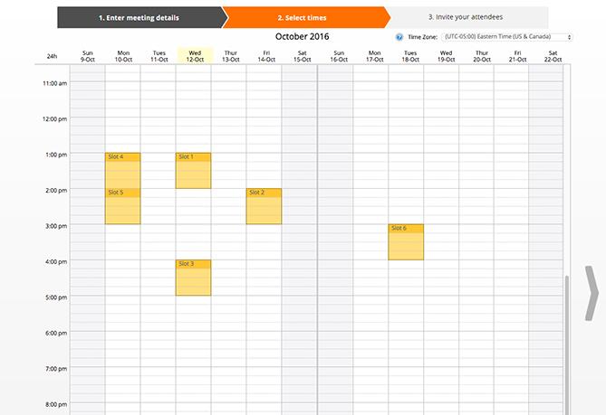 needtomeet calendar interface